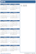 Yearly Calendar with Notes